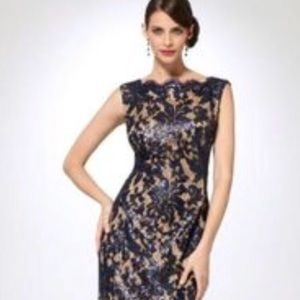 Cache navy lace & sequins evening gown.
